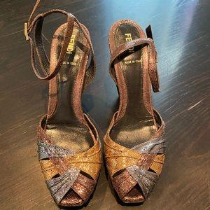 Metallic Fendi Sandals